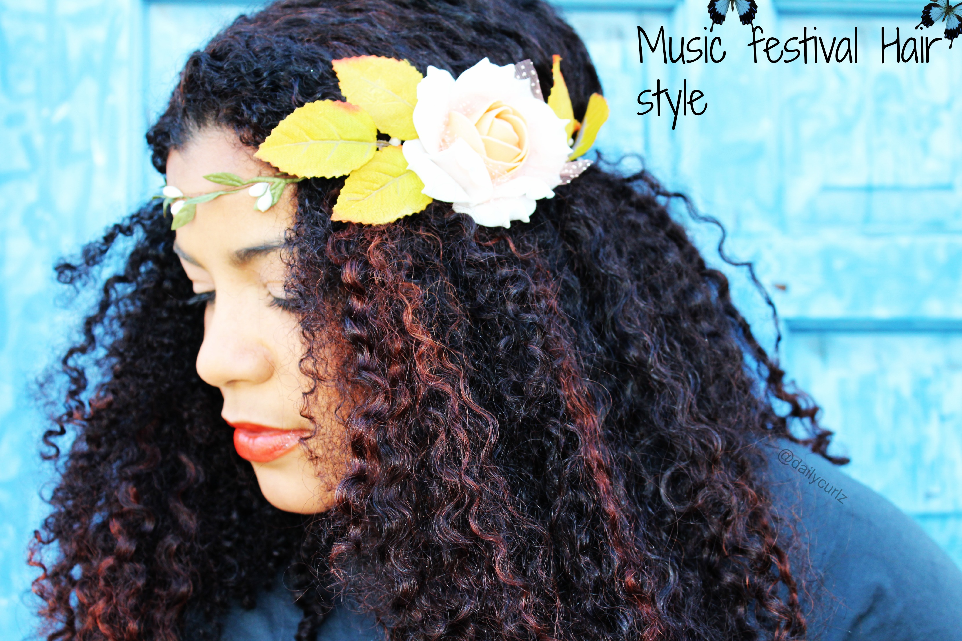 Music festival natural hair style / peinado inspirado en los festivales musicales